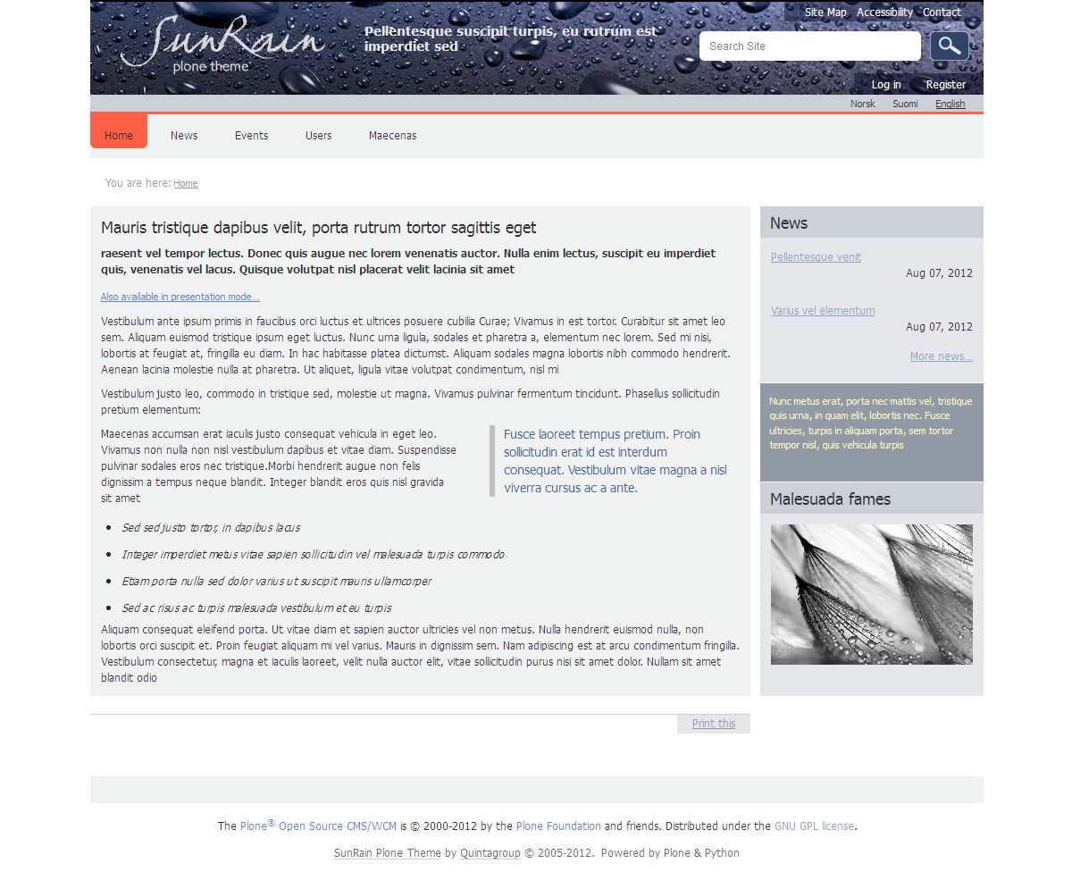sunrain plone theme blogging theme responsive layout for sunrain
